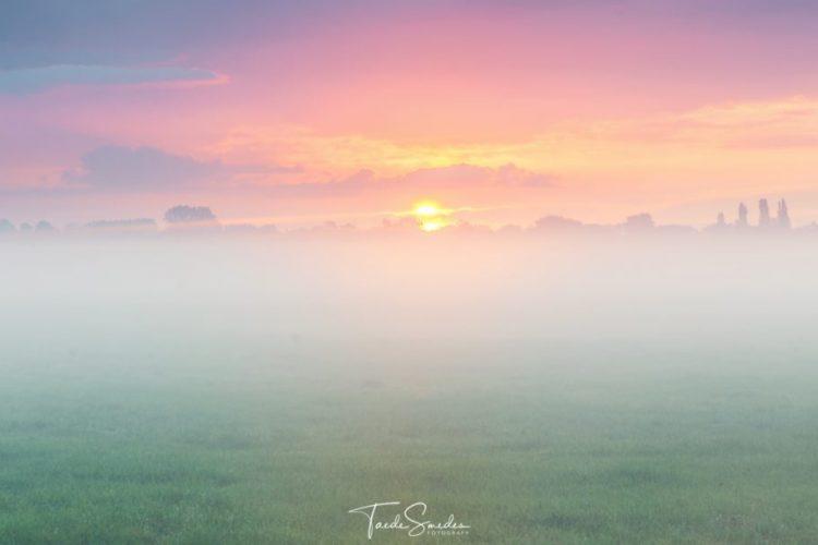 Taede Smedes, fotografie, landschap, natuur, garijp, alde feanen, mist, zonsopkomst, zonsondergang