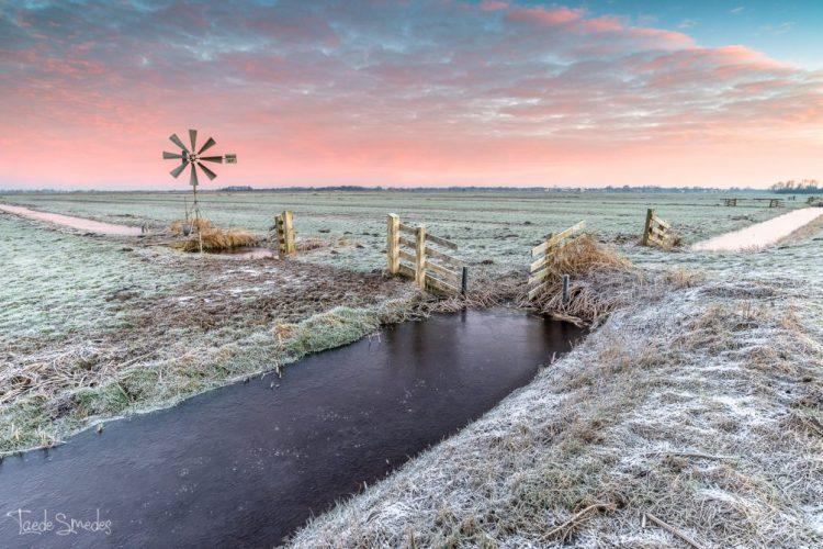 taede smedes, landschapfotograaf, garyp, molen, natuur, winter, zonsopkomst, fryslan