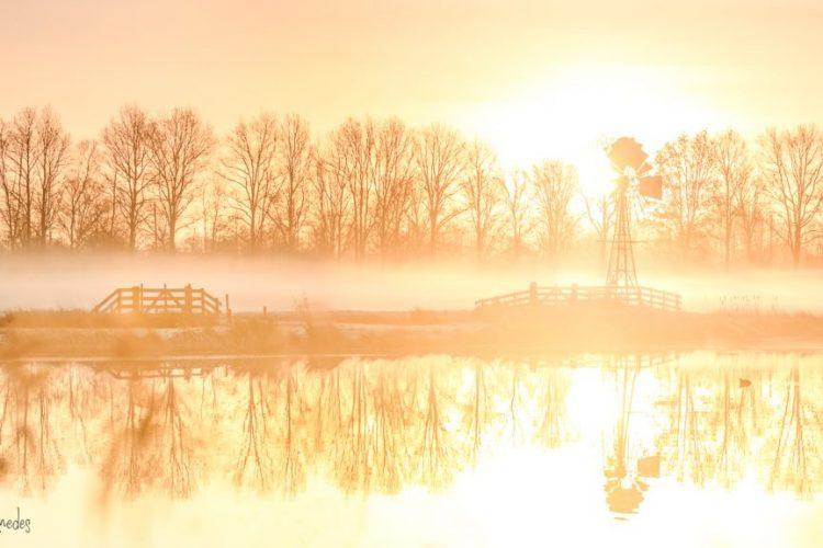 Taede Smedes, Garyp, landschapsfotografie, mist, zonsopkomst, molen